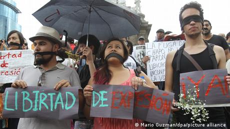 Print media photographers and members of civil organizations gather to protest the murder of a photographer in Mexico City