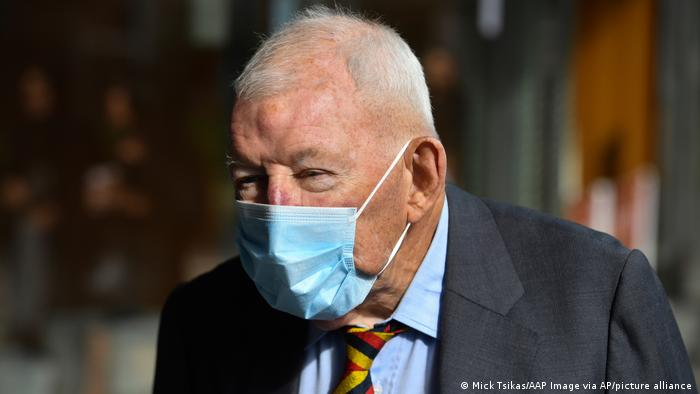 Ron Brierley leaves the Downing Centre District Court in Sydney