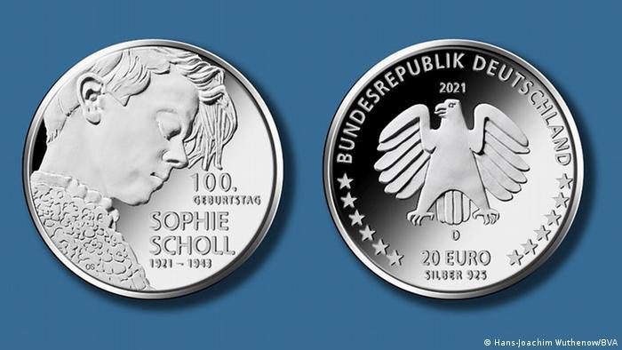 Gedenkmünze zum 100. Geburtstag von Sophie Scholl