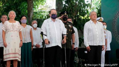 President Andres Manuel Lopez Obrador, right, attends ceremony to apologize to Maya people.