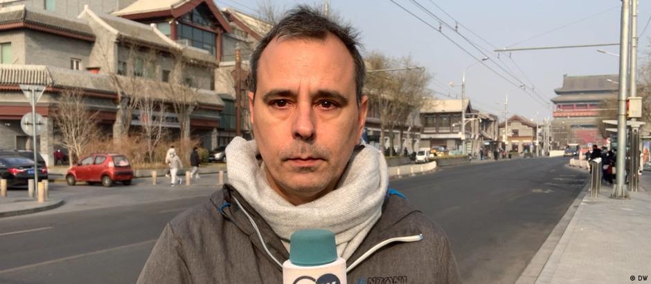 Der deutscher Journalist Mathias Bölinger in Peking.
