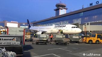Самолет компании Lufthansa в аэропорту Домодедово
