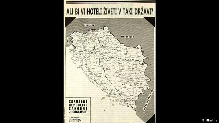 Satireseite der slowenischen Zeitschrift Mladina - Karte mit Teilungsvorschlag für Jugoslawien