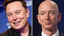 Bildkombo Elon Musk l Jeff Bezos