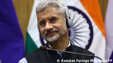 06.04.2021 This handout picture released on April 6, 2021 by the Russian Foreign Ministry shows India's Foreign Minister Subrahmanyam Jaishankar as he attends a press conference following his meeting with his Russian counterpart in New Delhi. (Photo by Handout / RUSSIAN FOREIGN MINISTRY / AFP) / RESTRICTED TO EDITORIAL USE - MANDATORY CREDIT AFP PHOTO / Russian Foreign Ministry / handout - NO MARKETING - NO ADVERTISING CAMPAIGNS - DISTRIBUTED AS A SERVICE TO CLIENTS