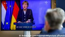 German Chancellor Angela Merkel delivers a virtual address marking Dutch Liberation Day