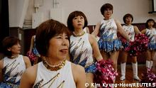 April 12, 2021*** Fumie Takino, 89, founder of a senior cheer squad called Japan Pom Pom, and other members prepare to pose for commemorative photos before filming a dance routine for an online performance in Tokyo, Japan, April 12, 2021. Picture taken April 12, 2021. Japan, one of the world's most rapidly ageing nations, with almost 30% of its population older than 65, is known for the longevity of its seniors. But acceptance of the squad took time in a nation with fixed notions about senior life. We went to a senior-citizens club, and they really didn't like us. They didn't smile even once. 'Japanese women, wearing things like that, at their ages!' Takino recalls. Now, I think about half of people are okay with us and half still can't accept us. REUTERS/Kim Kyung-Hoon TPX IMAGES OF THE DAY SEARCH KYUNG-HOON CHEER FOR THIS STORY. SEARCH WIDER IMAGE FOR ALL STORIES.