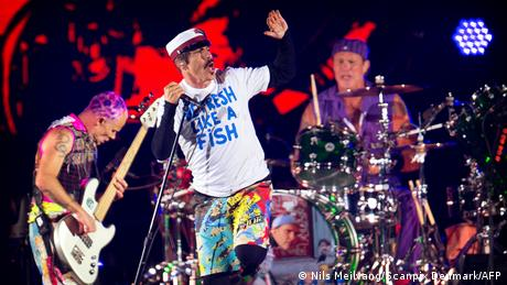 Red Hot Chilli Peppers performing on stage