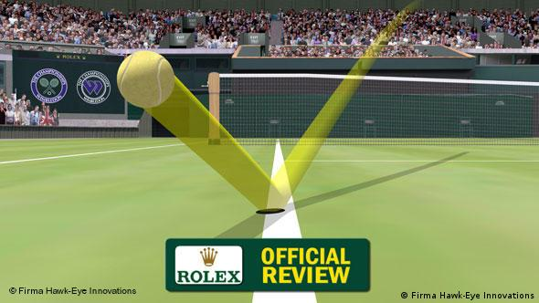 Hawk-Eye showing a tennis ball hitting the line at the Wimbledon Championships