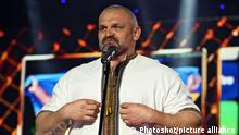 KYIV, UKRAINE - MARCH 9, 2020 - Strongman Vasyl Virastiuk delivers a speech during the Heroes of Sports Year 2019 award ceremony in Kyiv, capital of Ukraine.