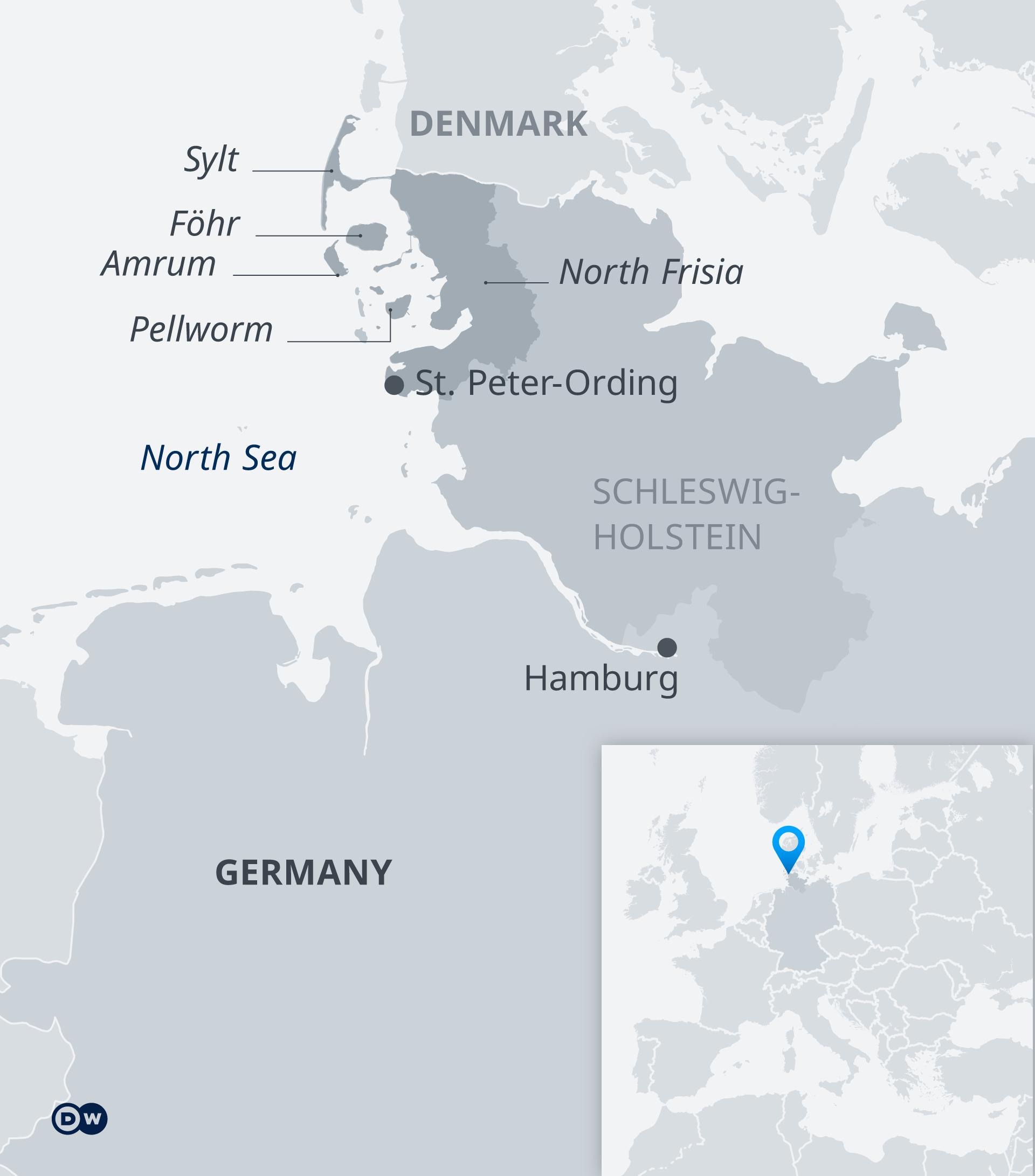 Karte von Nordfriesland im Bundesland Shelswick-Holstein in Deutschland