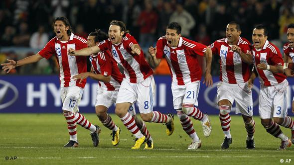 From left, Paraguay's Nelson Haedo Valdez, Edgar Barreto, Lucas Barrios, Antolin Alcaraz, and Enrique Vera, partially visible, celebrate after winning the penalty shootouts during the World Cup round of 16 soccer match between Paraguay and Japan at the Loftus Versfeld Stadium in Pretoria, South Africa, Tuesday, June 29, 2010. Paraguay advanced to the World Cup quarterfinals for the first time with a 5-3 victory over Japan in penalty kicks after a 0-0 draw.
