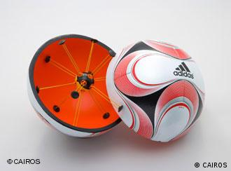 A cross-section of an Adidas ball showing the goal-line technology sensor