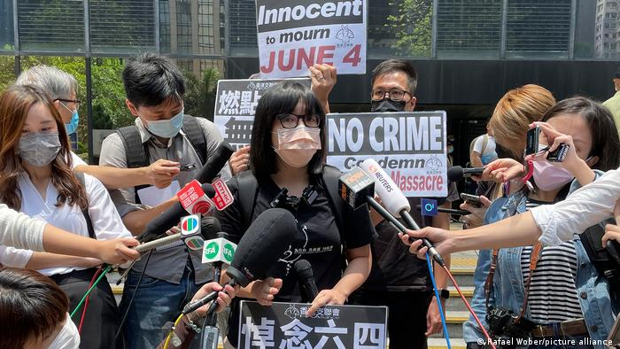 Hong Kong Alliance in Support of Patriotic Democratic Movements of China Vice Chairperson Chow Hang-tung speaks to media outside a court in Hong Kong, Thursday, May 6, 2021.