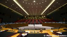 The Security Council chamber is seen from behind the council president's chair.
