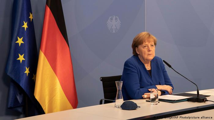 German Chancellor Angela Merkel attends the virtual Petersberg Climate Dialogue conference