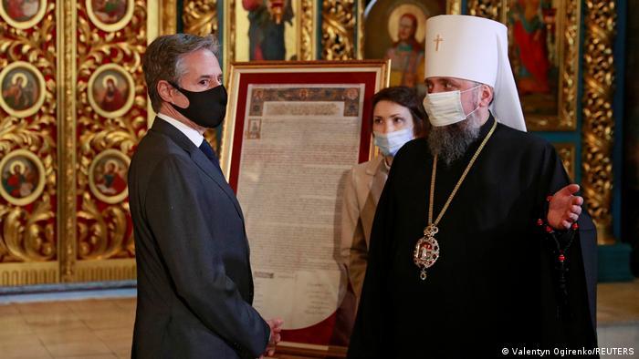 آنتونی بلینکن در دیدار با رهبر کلیسای ارتدوکس در اوکراین، ۶ مه ۲۰۲۱