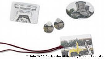 The picture shows a set consisting of a broach, earrings and a bookmark that is being sold in kiosks.