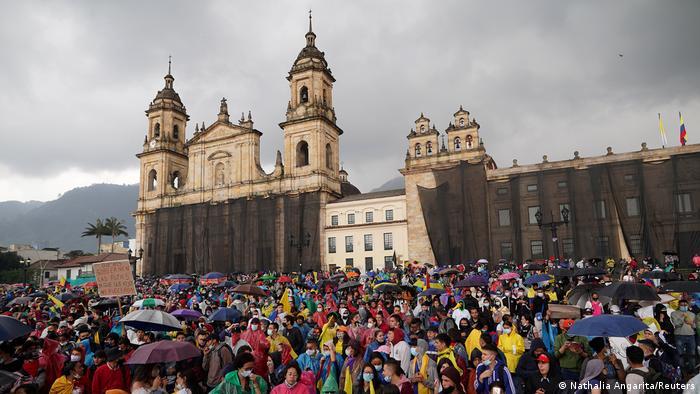 Protesters gather in Bogota.