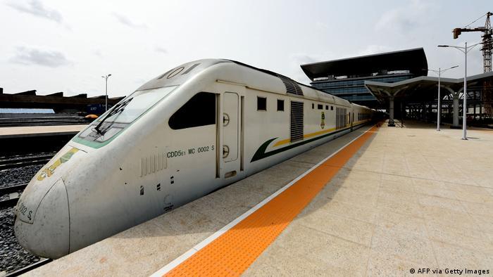 A train stops at a train platform in Nigeria
