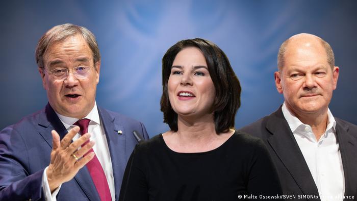 Birlik partilerinin adayı Armin Laschet, Yeşillerin adayı Annalena Baerbock, SPD'nin adayı Olaf Scholz