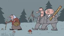Карикатура Сергея Елкина - бабушка с корзинкой идет по лесу, за ней следуют два чиновника с циркулем и линейкой