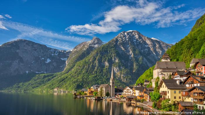 Austria, view of the village Hallstatt with mountains in the background