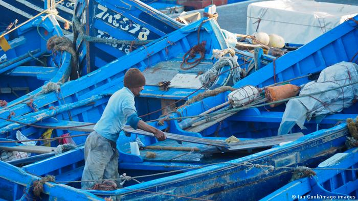 Fishermen in Essaouira - small blue boats in the fishing port
