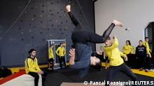 Student Birgui Tall attends a training session at France's Campus Univers Cascade (CUC), a training ground for stuntmen, in Le Cateau-Cambresis, France, May 4, 2021. Picture taken May 4, 2021. REUTERS/Pascal Rossignol