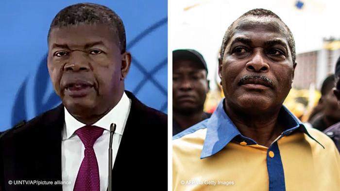João Lourenço (esq.), Presidente de Angola, e Abel Chivukuvuku, coordenador do movimento PRA-JA Servir Angola