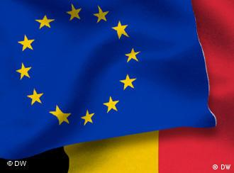 EU flag over a Belgian flag