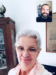 Márcia Lopes Coelho, em chamada de WhatsApp com o filho Lucas, no dia do seu aniversário