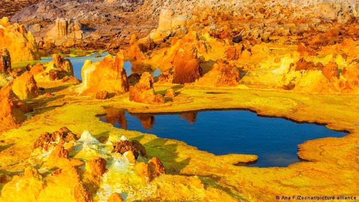 Color ponds in the Dallol desert in Ethiopia