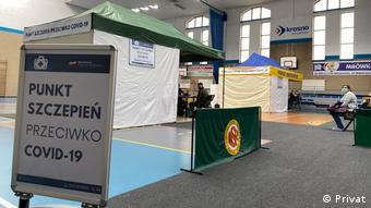 Пункт вакцинации в польском городе Кросно-Оджаньске