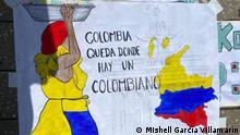 Kolumbien Proteste Plakat mit der Figur einer Frau
