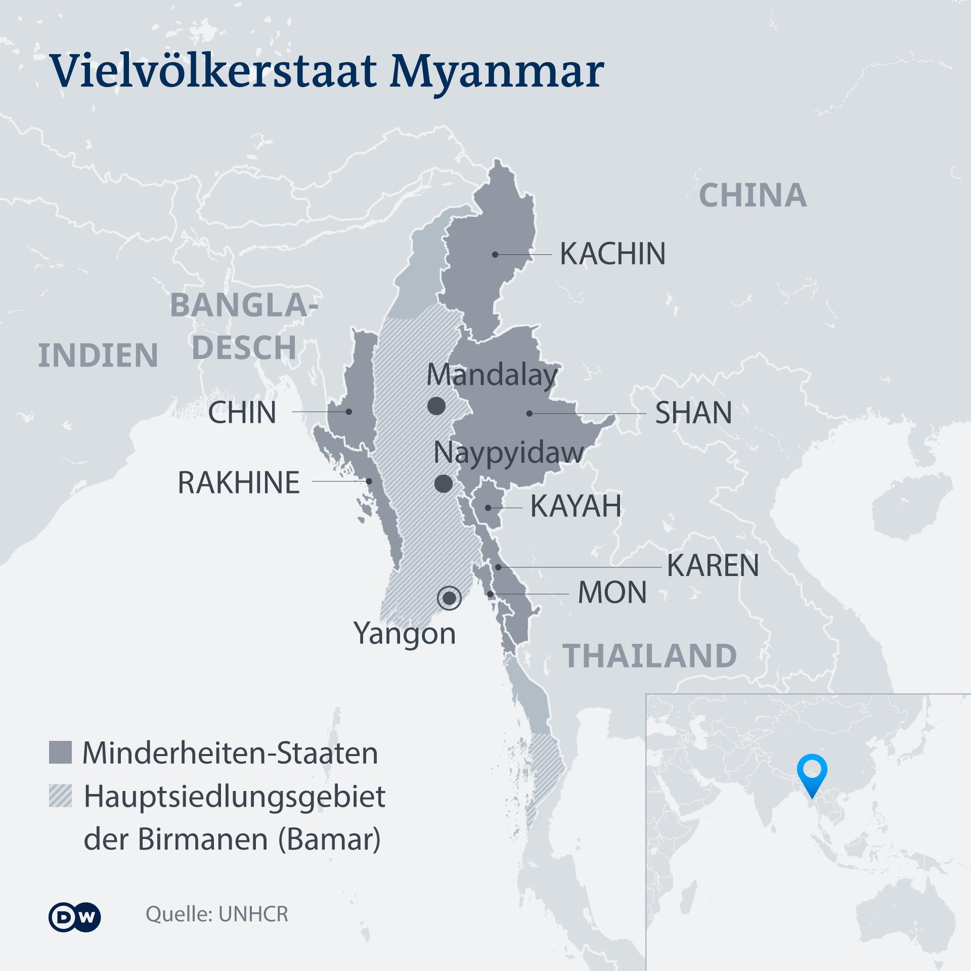 Infografik Karte Vielvölkerstaat Myanmar DE