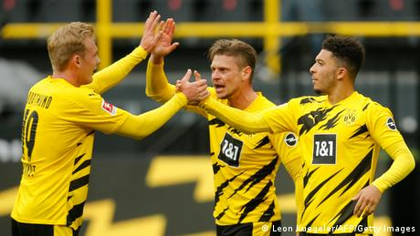 Borussia Dortmund celebrate their win over RB Leipzig