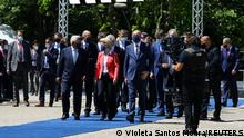 European Commission President Ursula von der Leyen, European Council President Charles Michel, Portuguese Prime Minister Antonio Costa and other EU leaders walk after a meeting in the framework of the European Social Summit in Porto, Portugal, May 8, 2021. REUTERS/Violeta Santos Moura/Pool