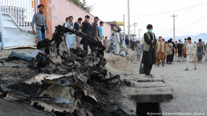 A view from the site after dozens of people were killed in blasts targeting a school in Kabul, Afghanistan