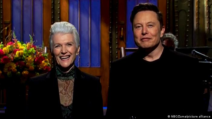 Tesla and SpaceX CEO ELON MUSK shares the stage with his mother, MAYE MUSK, as he hosts 'Saturday Night Live.