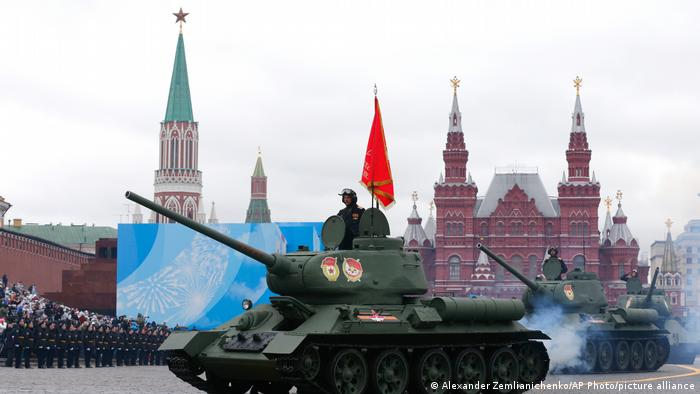 Soviet T-34 tanks roll toward Red Square during the Victory Day military parade in Moscow