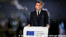 STRASBOURG, FRANCE- MAY 9: French President Emmanuel Macron delivers his speech on the Future of Europe and to and to mark Europe Day, at the European Parliament in Strasbourg, eastern France on May 9, 2021. NEWS : Deplacement de Emmanuel Macron a Strasbourg - 09/05/2021 ElyxandroCegarra/Panoramic PUBLICATIONxNOTxINxFRAxITAxBEL