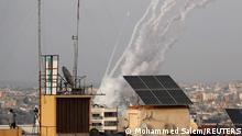 Einschlag einer aus dem Gazastreifen abgefeuerten Rakete auf israelischem Territorium