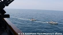 April 15, 2020, Arabian Gulf, United States: Iranian Islamic Revolutionary Guard Corps Navy speedboats harass U.S. Navy ships by crossing the bows and sterns at close range while operating in international waters April 15, 2020 in the North Arabian Gulf. The U.S. Navy guided-missile destroyer USS Paul Hamilton is conducting maritime security operations in the area when the Iranian vessels began harassing the ship. (Credit Image: © Us Navy/U.S. Navy/Planet Pix via ZUMA Wire