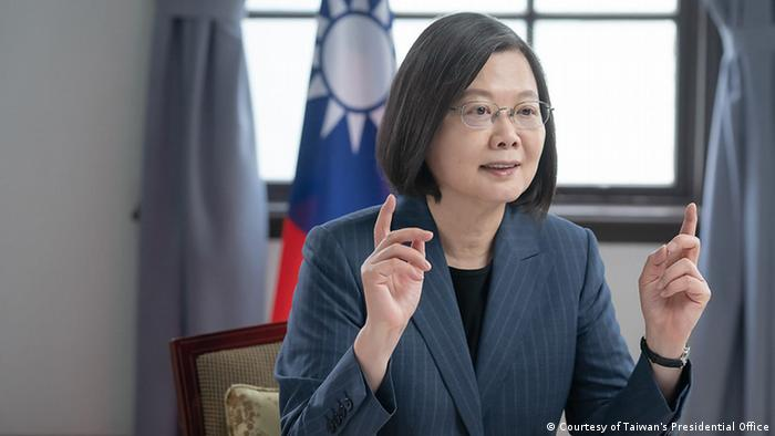 台湾总统蔡英文5月10日在哥本哈根民主高峰会上发表视讯演说。