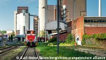 Fabrikgebäude am Westhafen in Frankfurt am Main, Deutschland
