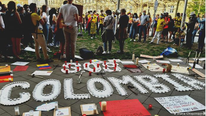 Protesta en Alemania contra la violencia policial y estatal en Colombia.