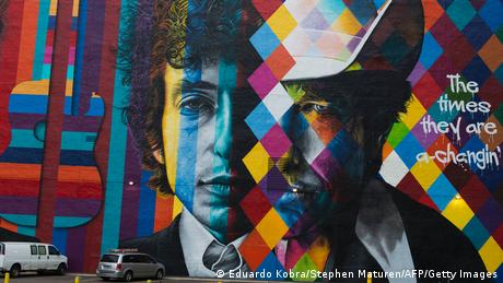 Graffiti picture of Bob Dylan: then and now.