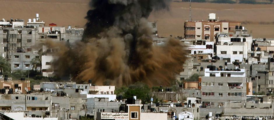 Smoke rises after an Israeli airstrike in Gaza City