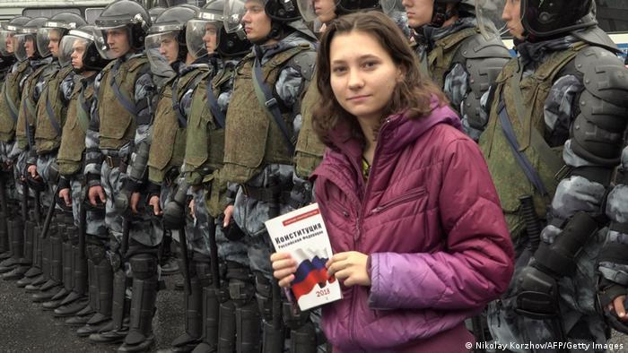 Активистка Ольга Мисик во время протестов 2019 года в Москве